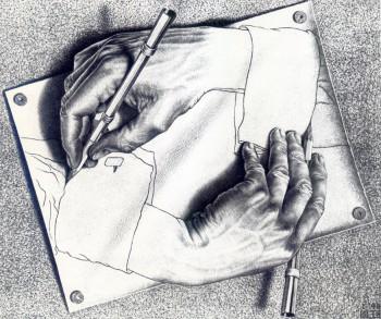 Manos dibujando Escher